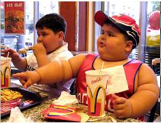 Obese children at McDonald's